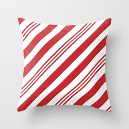 Red Candy Cane Stripes Throw Pillow
