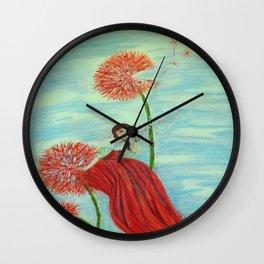 Scarlet Dandelion Wall Clock