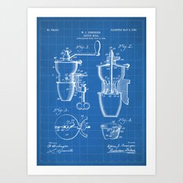 Coffee Mill Patent - Coffee Shop Art - Blueprint Art Print