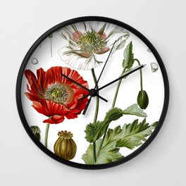 Nature, botanical print, flower poster art of Poppy Wall Clock