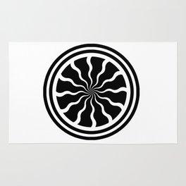 Single Pinwheel Medallion with Wavy Lines - Mandala Digital Graphic Design Rug