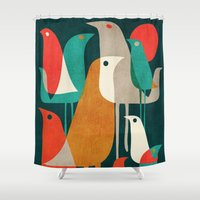 70s Shower Curtains featuring Flock of Birds by Picomodi