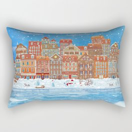 Merry  Christmas and New Year holidays card with  fairy town and  frozen river  in winter Rectangular Pillow