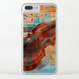 Violin Art Collage - mixed media Clear iPhone Case