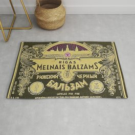 Vintage 1950 Rigas Melnais Balzams Wine Bottle Pink-Fushia Label Rug