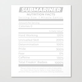 Submariner Nutrition Facts Undersea Archaeology Canvas Print