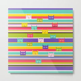 Colorful Peeking Cats on stripes Metal Print