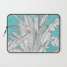 Banana Leaves Illustration - Blue Laptop Sleeve