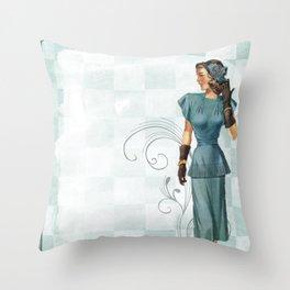 Vintage Woman Neck Gator Blue Dress Vintage Lady Throw Pillow