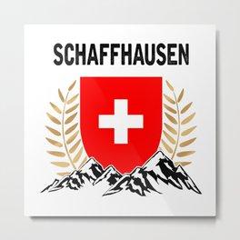 Schaffhausen Swiss Flag TShirt Swiss Alps Shirt Switzerland Gift Idea  Metal Print
