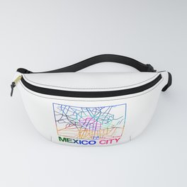 Mexico City Watercolor Street Map Fanny Pack