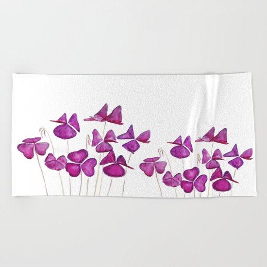 purple clover leaves Beach Towel