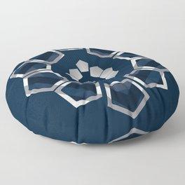GeoFlower - Classy Blue Floor Pillow
