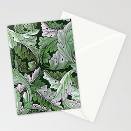 Art Nouveau William Morris Green Acanthus Leaves Stationery Cards