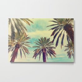 Watercolor palm trees in sunny day Metal Print