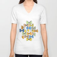 bows V-neck T-shirts featuring More Bows & Butterflies by Romina M.