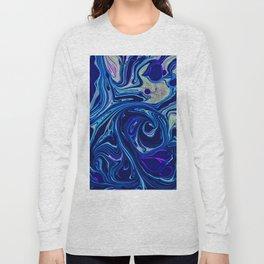 Deep blue sea marble pattern Long Sleeve T-shirt
