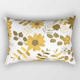 Big Yellow and Brown Flowers Rectangular Pillow