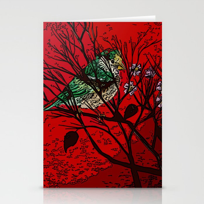 A bird in the bush Stationery Cards