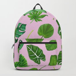 Pink Tropical Monstera Palm Leaves Jungle Pattern Backpack
