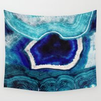 minerals Wall Tapestries featuring Abstract Blue Agates by sundressed