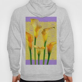 Lilac & Yellow  Calla Lilies Water Pattern Art Hoody