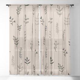 Vintage Wildflowers  Sheer Curtain