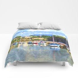 Boats in Harbour, Caernarvon Comforters
