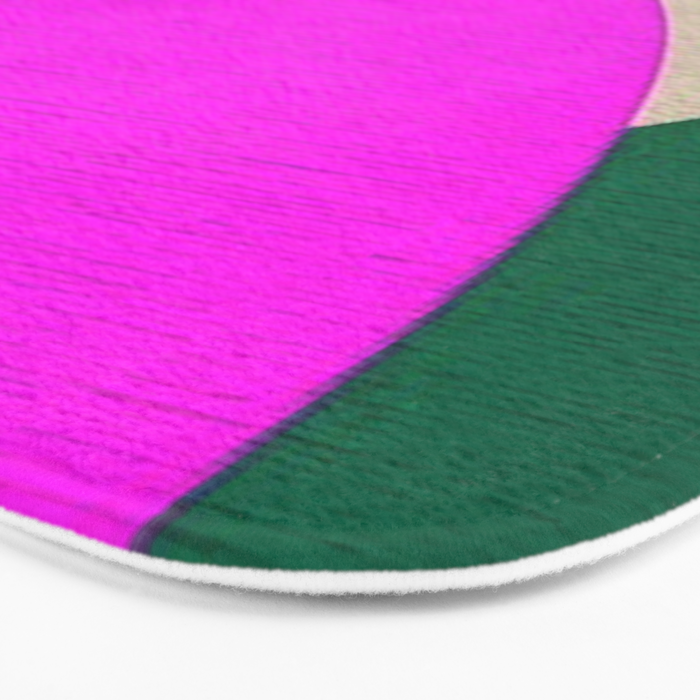 Abstract Composition in Green and Fuchsia Bath Mat