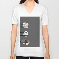 sushi V-neck T-shirts featuring Sushi! by Caitlin Krupinski