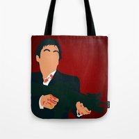 scarface Tote Bags featuring Scarface by Tom Storrer