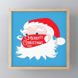 Santa Claus Wearing Face Mask Merry Christmas 2020 Framed Mini Art Print