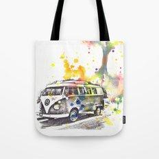 Classic Vw Volkswagen Bus Van Painting Tote Bag