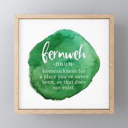 Fernweh Word Nerd - Green Watercolor Framed Mini Art Print