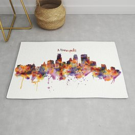 Minneapolis Watercolor Skyline Rug