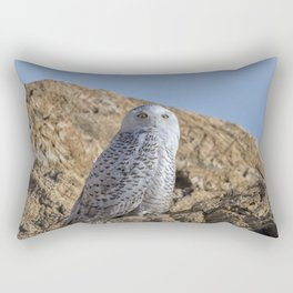 Snowy Owl with a strange look Rectangular Pillow