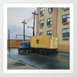 Blue and Yellow Truck on Wyckoff Avenue, print of original oil painting Art Print