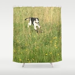 Happiness is running wild and free, and not letting your feet touch the ground! Shower Curtain
