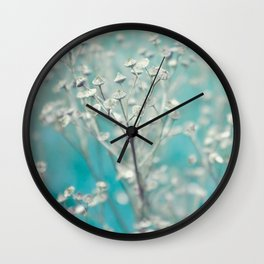 Ice blue - floral Wall Clock