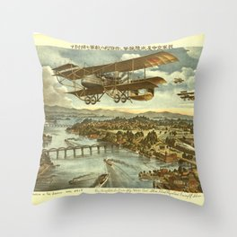 Vintage Print - Illustrations of the Siberian War (1919) - Japanese Attacks by Sky, Water and Shore Throw Pillow