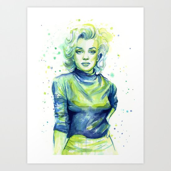 Marilyn Portrait Watercolor Painting Actress Old Hollywood Art Print