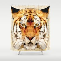 marley Shower Curtains featuring abstract tiger by Ancello