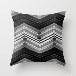 Geometric Wave - White on Black Minimalist Geometric Art Throw Pillow