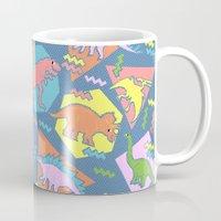 yetiland Mugs featuring Nineties Dinosaur Pattern by chobopop