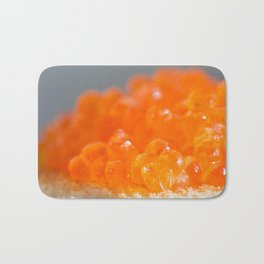 Sandwich with red caviar on a gray background Bath Mat