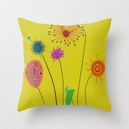 Silly Space-Age Flowers Yellow Background Throw Pillow