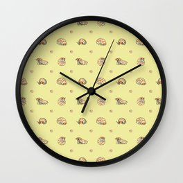 Roly Poly Party! Peach on Yellow Wall Clock