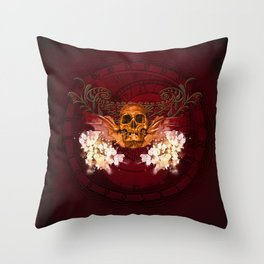Amazing skull with flowers Throw Pillow