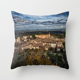 Landscape in the Tuscan hillside town of San Gimignano Throw Pillow