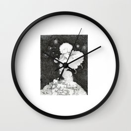 A night witch puts a city to sleep thanks to sleep powder  | DUST | Drawing for the Inktober challen Wall Clock